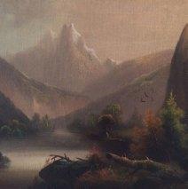 Misty Peaks Landscape – Vintage Oil on Canvas
