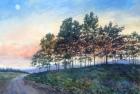 Moon Tree Line – Vintage Watercolor