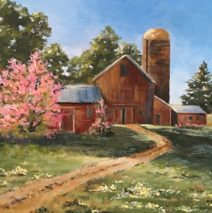 Barn with Springtime Blossoms